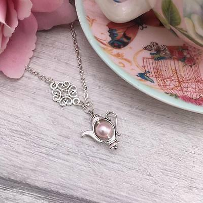 Silver TEAPOT Charm NECKLACE Pink Pearl TEA LOVER Gift, Tea Party, SHABBY CHIC