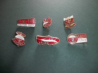 6 Manchester United Football Club Enamel Badges Coffer