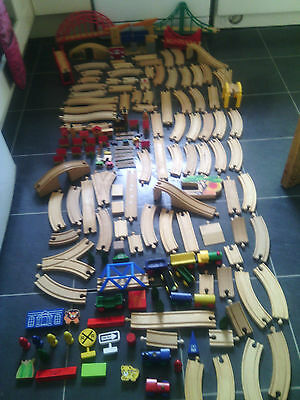 Large Wooden Train Track, Trains, Bridges, Buildings And More Brio And Other Com