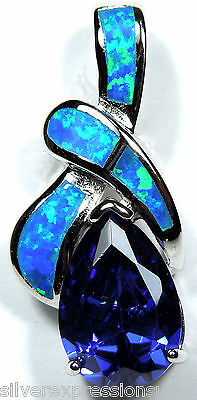 3.44 ct Tanzanite & Blue Fire Opal Inlay 925 Sterling Silver Pendant Necklace