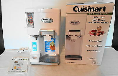 Cuisinart ICE-45 Mix It In Soft Serve 1-1/2-Quart Ice Cream Maker White USED