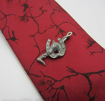 Vintage Mens Tie Clip Bar Horseshoe Riding Crop Horse Pewter Metal Brass Pin