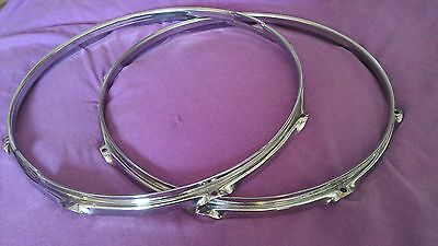 PAIR Vintage Premier triple flange 14ins hoops for snare drum 1970's vgc Olympic