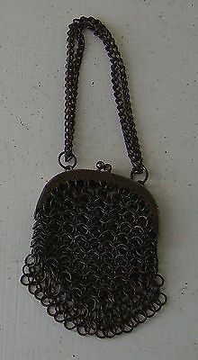 Antique Chain Purse Vintage Steel Original Period Costume