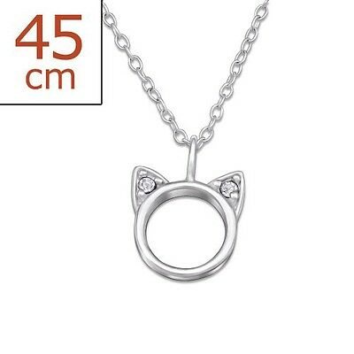 Ladies Girls Children's Sterling Silver Cat Necklace With Gift Box