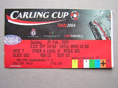 BOLTON WANDERERS v MIDDLESBROUGH Carling/League Cup Final 2004 (Match Ticket)
