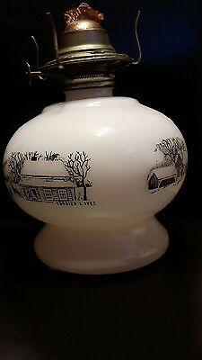 Milk Glass Currier and Ives Kerosene Oil lamp Base - beautiful condition
