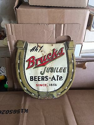 "Vintage Bruck's Jubilee Beer Metal Sign Horse Shoe Cincinnati, Ohio 11"" X 11"""