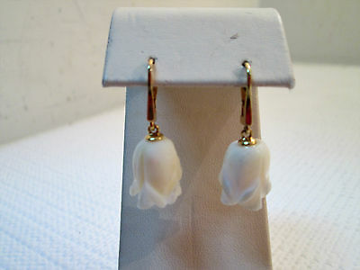 14k Yellow Gold Hand Carved White Coral Rose Dangle Earrings