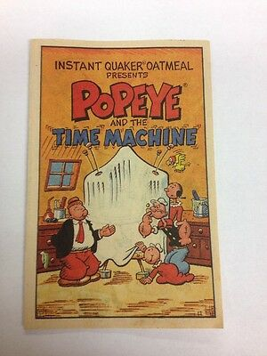 Vintage 1989 Popeye and the Time Machine Instant Quaker Oatmeal Mini Comic Book