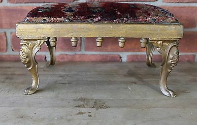 Antique Foot Step Stool - Ornate - Iron Legs - Original Material