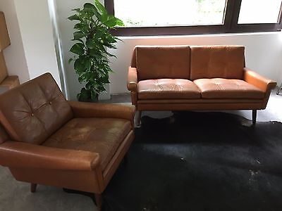 vintage ledersofa cognac danish modern mid century 50s 60s. Black Bedroom Furniture Sets. Home Design Ideas