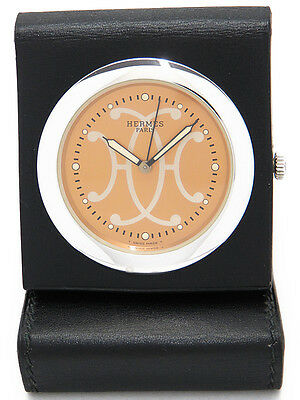 Auth HERMES Table Clock OU1.703  SS x Leather Unisex