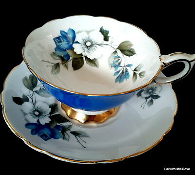 Royal Stafford Blue Rose Sky Blue Teacup and Saucer Wide Mouth Tea Cup & Saucer