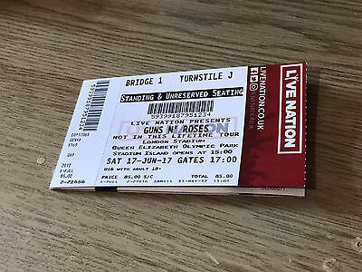 Guns N Roses Concert Ticket Standing (17.06.2017) NOT IN THIS LIFETIME TOUR !!!