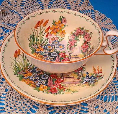 Radford's Crown Garden Scene Teacup and Saucer Hand Painted Tea Cup & Saucer