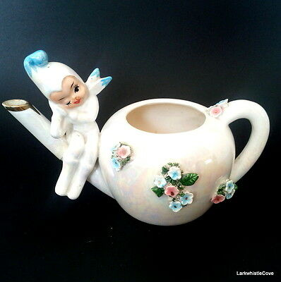 ESD Lefton Hand Painted Pixieware Teapot Tea For One With Pixie 2380 c.1950s