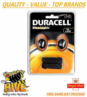 Bicycle Lights Rear And Front 2 Led Duracell Bike Cycle Night Safety Light New
