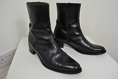 Vintage Black House Of Bruar Leather Chelsea Boots Zipped Boot Men's Size 7.5