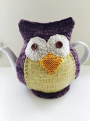 Sabrina - Hand-knitted Owl Tea Cosy in Pure Wool & Mohair. Fits 6-cup Teapots