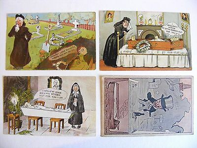 X 4 Victorian Macabre Postcards - Grave Humour - Music Hall Connection c1900