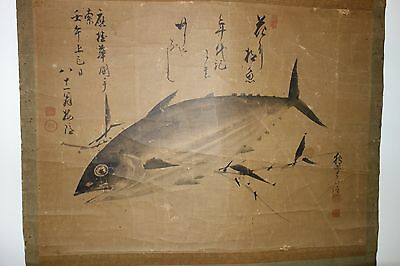 Antique Chinese Hanging Wall Scroll Painting Tuna fish