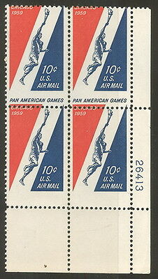 US #C56var 10¢ Pan Am Games Airmail vertically misperfed error, Plate Block of 4