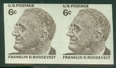 US #1305a 6¢ Roosevelt, IMPERF PAIR, og, NH, VF, Scott $55.00