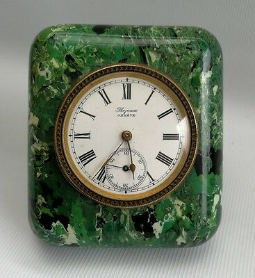 Vtg Deco Green Bakelite Plojoux Geneve Swiss Desk Clock Pocket Watch Movement