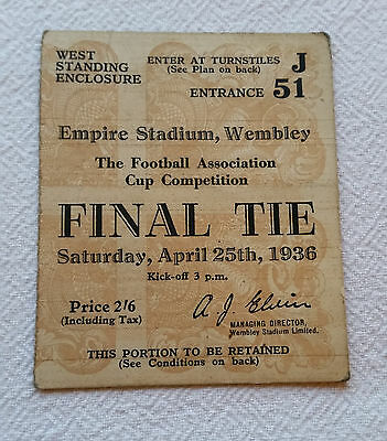 Original 1936 Arsenal v Sheffield Unt Cup Final Ticket