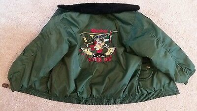 disney vintage retro 80's flying ace boys kids bomber jacket  size 4 to 5 years