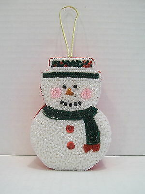 Bead Box Snowman Beaded Christmas Ornament   See's Candy Collectible Bead Box