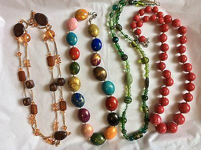Job Lot Costume Jewellery 4 Assorted Colourful Bead Necklaces 400 D