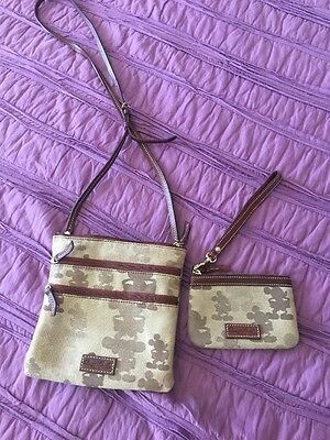 Dooney And Bourke Disney Tonal Mickey Mouse Brown Letter Carrier & Coin Wristlet