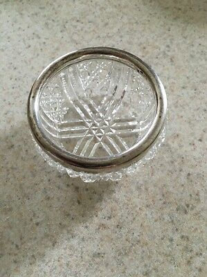 Antique Hallmarked Sterling Silver And Cut Glass Salt Cellar