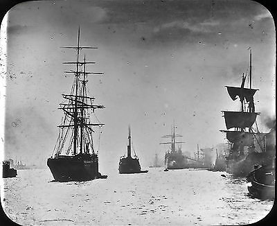 CLYDE TALL MASTED  SHIPS Early1900s Magic Lantern Slide 2852