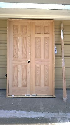 "BRAND NEW: Nice SOLID OAK 6-Panel INTERIOR DOUBLE DOORS w/ Trims (48"" w x 80"" h)"