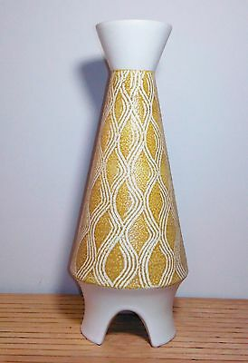 Pristine Mid-Century Modern Hyalyn Large Rocket Shaped Sgraffito Vase #814-Mint
