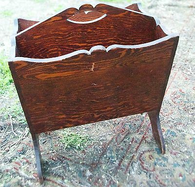 Vintage Wood Newspaper Magazine Floor Rack Early American Colonial Reproduction