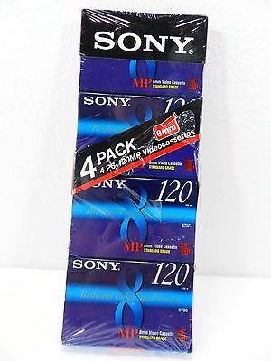 SONY 8mm 8video Video8 MP 120 Video Tapes New Sealed ~ 4 Pack