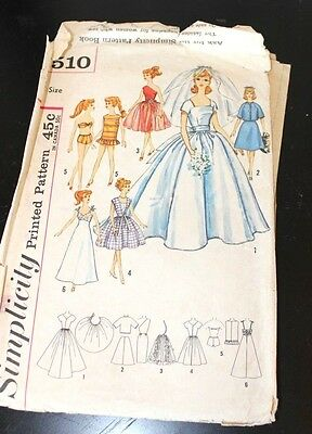 1950's Barbie Sewing Pattern Vintage Teen Doll Bridal Gown and Trousseau