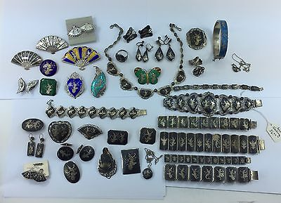 HUGE lot of Sterling Silver Siam Niello & Color Enamel Jewelry 53 pieces