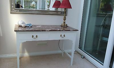 Antique Edwardian Painted Marble Topped Console Table, Hall Lamp Kitchen Writing