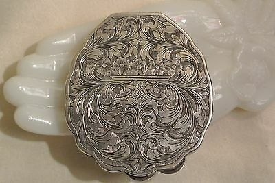 Vintage Antique 800 Silver Compact Hand Engraved Italian Bevel Mirror Scalloped