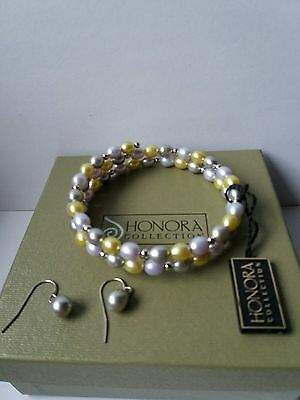 Honora Sterling Silver, Coil Bracelet And Earring Set.charity