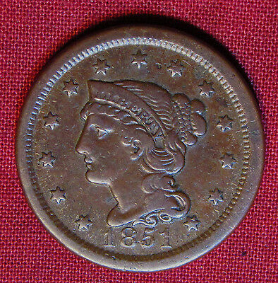 1851 Braided Hair Large Cent - Very Nice Detail, No Major Issues!