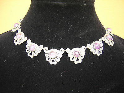 Scarce Vintage Mexican Sterling Silver Amethyst Necklace. Early Mexico Silver