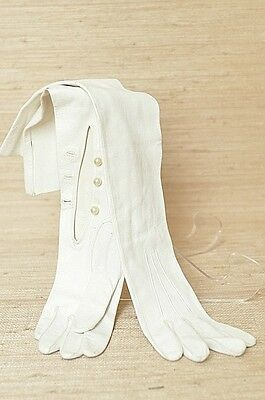 VINTAGE BRIDAL MARRIAGE GENUINE WHITE LEATHER FAUX PEARLS Opera GLOVES