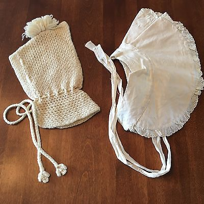 2 Vintage BABY BONNETS Cream Colored Knit & Starched Cotton Handmade Hats 1950's