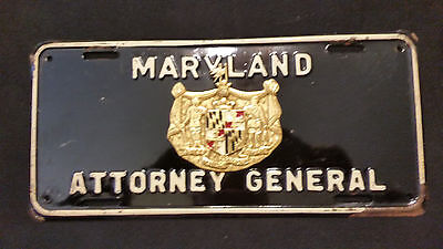 Vintage Maryland Attorney General License Plate  Ornate! One Of A Kind! Heavy!!